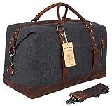 Beeaoo Canvas weekender Bag Leather Trim Duffel Bag Overnight Weekend Bag for Men and Women