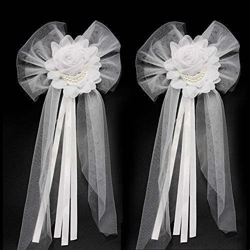 Junxia Pearl Bud Silk Ribbon Flower for Wedding Party Decoration,Bridal Car,Wedding Car Decoration 2 pcs/Set (Bigger)