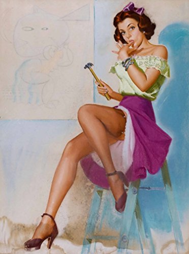A SLICE IN TIME 1940s Pin-Up Girl Ouch, I Smashed My Thumb Working Girl with Hammer Picture Poster Print Art Vintage Pin Up. Poster Measures 10 x 13.5 inches