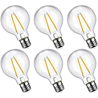 6 Pack Oak Leaf 4W Edison Globe G25 LED Light Bulbs