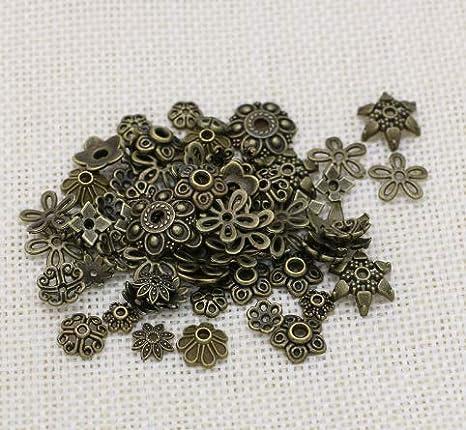 Various Colour 200 Pcs 6mm Flower Metal Bead Caps