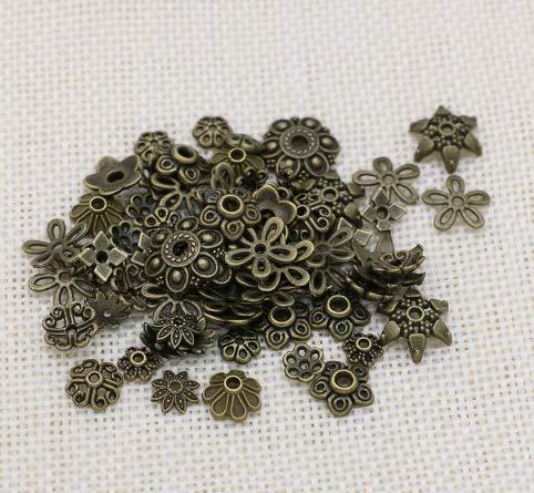 Bingcute 200Pcs Assorted Metal Tibetan Bronze Bead Caps,Bali Style Beads Making for Jewelry (Antique - Bronze Tibetan