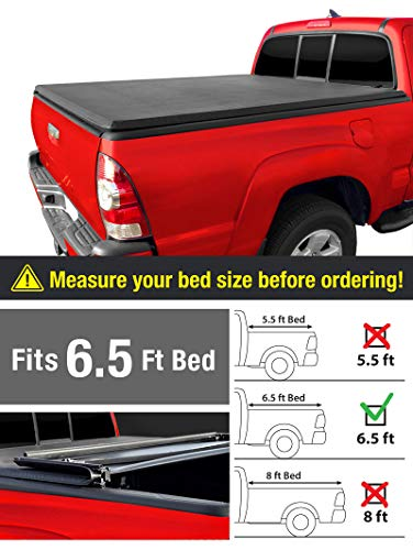 (MaxMate Tri-Fold Truck Bed Tonneau Cover Works with 2014-2019 Toyota Tundra | Fleetside 6.5' Bed | for Models with or Without The Deckrail System)