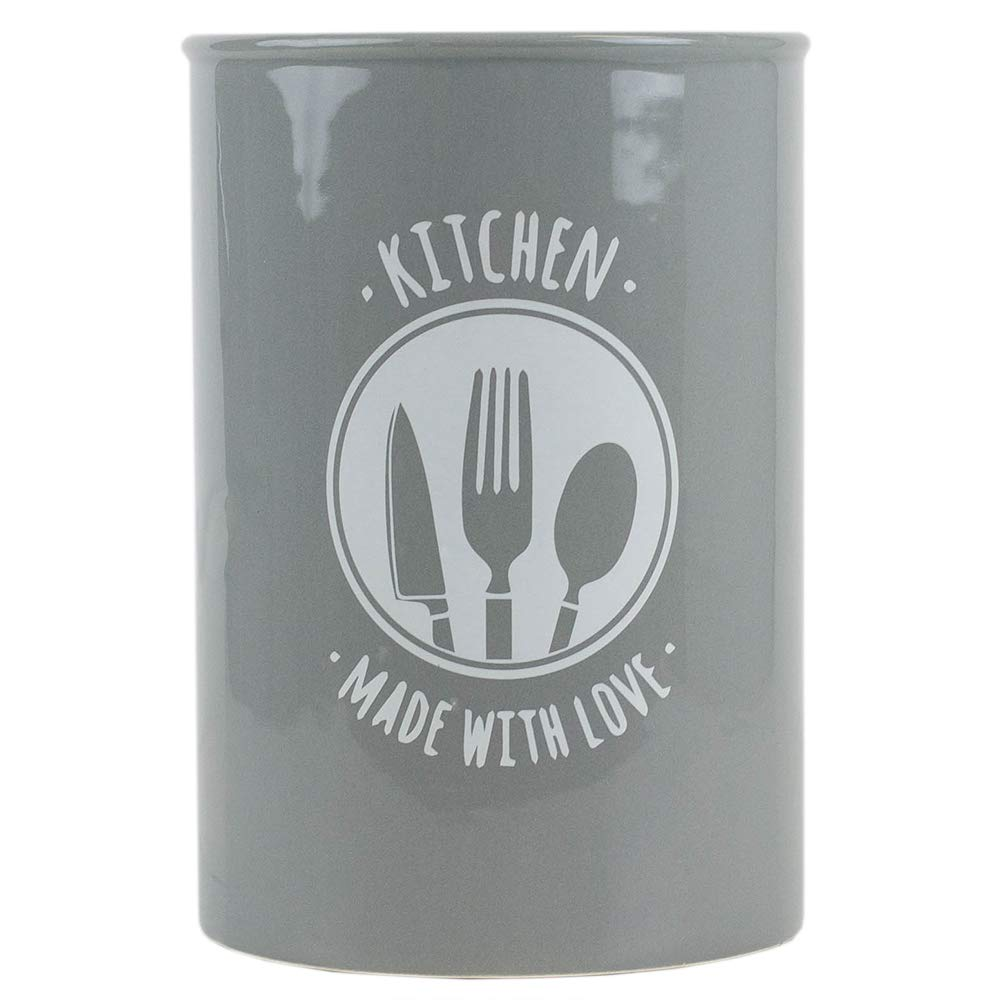 Home Basics Kitchen Made with Love Ceramic Utensil Flatware Storage Organizer Crock (Grey) by Home Basics
