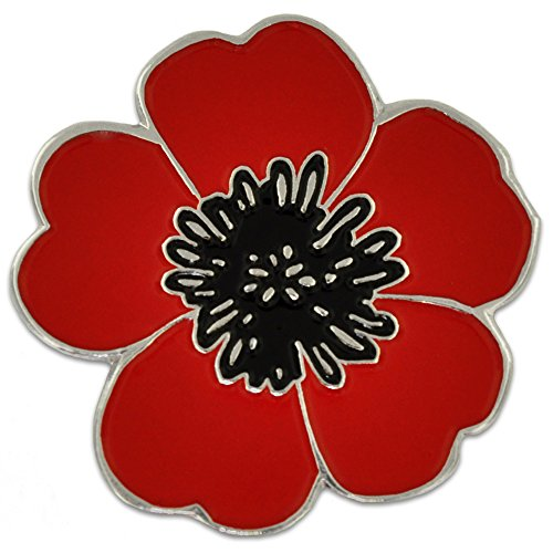 Poppy for veterans day amazon pinmarts red and black poppy flower remembrance memorial day enamel lapel pin mightylinksfo