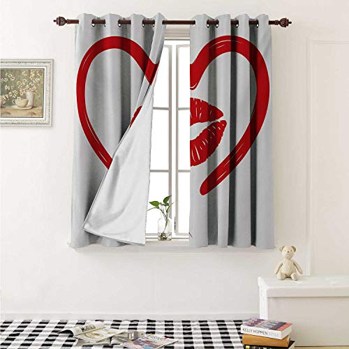shenglv Kiss Blackout Draperies for Bedroom Heart Drawn in Lipstick and Woman Lip Imprint Romance Passion and Tenderness Message Curtains Kitchen Valance W72 x L63 Inch Red White (Kisses Ring Swiss)