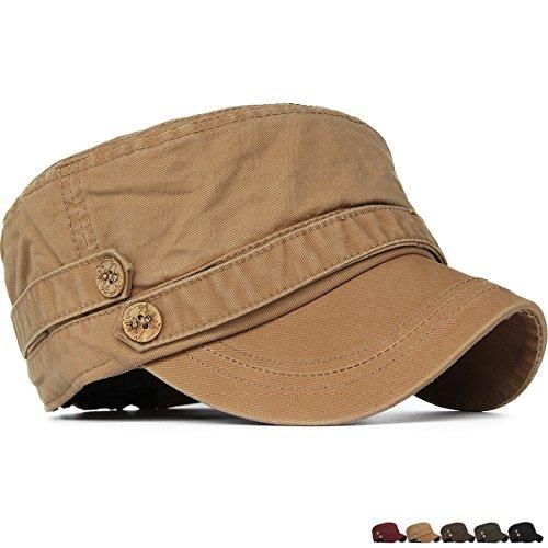 Patrol Cap Khaki (Rayna Fashion Unisex Adult Cadet Caps Military Hats Low Profile Elastic Khaki)