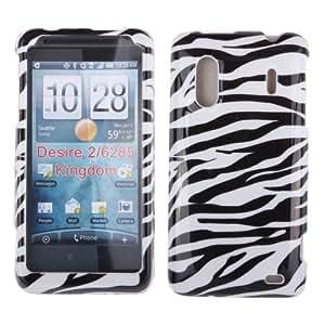 Zebra Hard Crystal Plastic Protector Snap-On Cover Case For HTC Kingdom Hero 4G - Black White