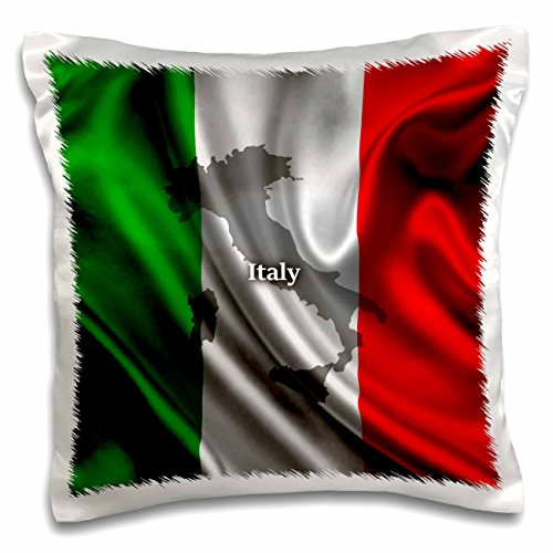 3dRose pc_204475_1 Italian Flag Design Pillow Case, 16