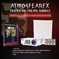 Atmosfearfx Tricks And Treats Video Projector Bundle. Includes 3000 Lumen Projector, Dvd And Window Projection Screen.