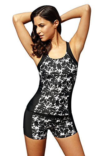 Dearlove-Womens-Floral-Print-Tankini-Top-with-Boyshort-Two-Piece-Swimsuit
