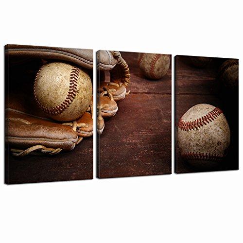 LevvArts - Old Vintage Baseball Wall Art Sports Canvas Paintings Framed Artwork for Kids Boys Room Decor Great Gift
