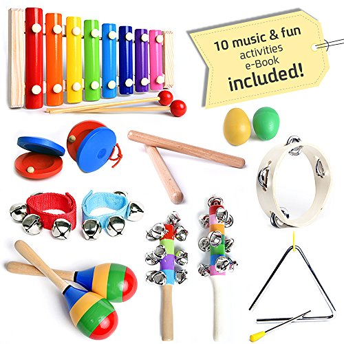 Musical Instruments Set with Xylophone for Kids - 15 Pcs. Percussion Set , FREE bonus musical games eBook, Free Carrying Bag