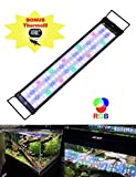 """JC&P Full Spectrum Aquarium LED Light with Extendable Brackets (20""""-28"""" (50-72 cm) with Red, Green, Blue and White LEDs Aquatic Fish Tank Light"""
