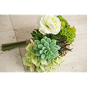 Faux Hydrangea, Rose & Succulent Bouquet in Green and White 12 Inch Tall 2
