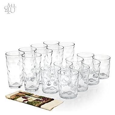 All 4 You 12 Piece Elegant Eclipse Glassware 4 7 oz 4 13 oz 4 17 0z Set 12 + 1 Hand Towel