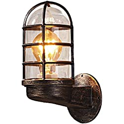 NIUYAO Nautical Style Industrial Vintage Metal Wrought Iron Reversible Kitchen Wall Sconce with Wire Guard Rustic Antique Wall Light Wall Lamp Fixture
