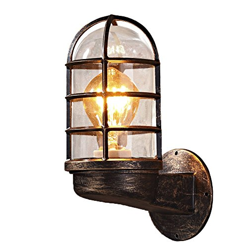 NIUYAO Nautical Style Industrial Vintage Metal Wrought Iron Reversible Kitchen Wall Sconce with Wire Guard Rustic Antique Wall Light Wall Lamp Fixture by NIUYAO