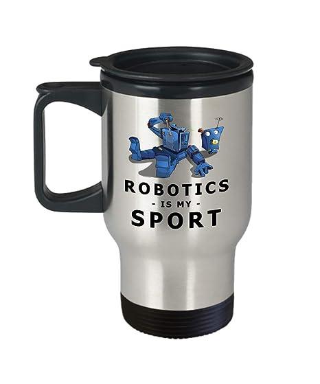 Amazon Com Robotics Is My Sport 14 Oz Stainless Steel Travel Mugs
