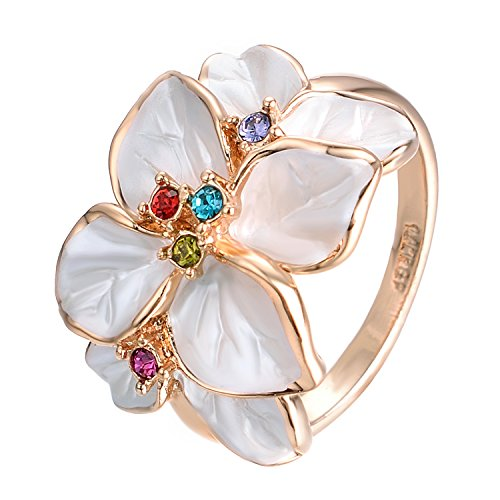 Yoursfs flower rings for women colorful Austrian Crystal White Enamel statement Ring
