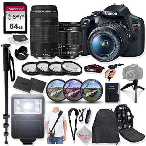 Canon EOS Rebel T7 DSLR Camera with 18-55mm is II Lens & 75-300mm III Lens +32GB Transcend Memory, HD Filters, Macro Close Ups, Mono pod, Grip Multi Angle Tripod, Shoulder Strap & More