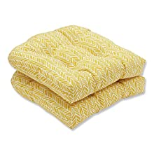 Pillow Perfect Outdoor | Indoor Herringbone Egg Yolk Wicker Seat Cushion (Set of 2, 2 Piece