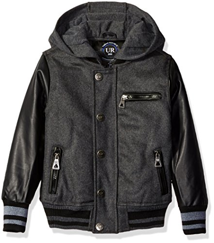 Urban Republic Big Boys' Wool Varsity Coat with Faux Leat...
