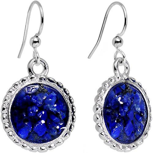 Circular Dangle Earrings (Body Candy Handcrafted Silver Plated Blue Beauty Circular Frame Dangle Earrings)