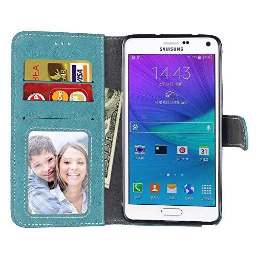 YHUISEN Retro Style Solid Color Premium PU Cartera de cuero Funda Flip Folio cubierta de la caja protectora con ranura para tarjeta / Stand para Samsung Galaxy Nota 4 ( Color : Purple ) Blue
