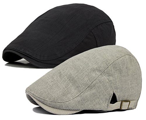 Qunson Men's Gatsby Ivy Irish Hunting Newsboy Cabbie Hat Cap (C-2 Pack) (Business Hat Casual)