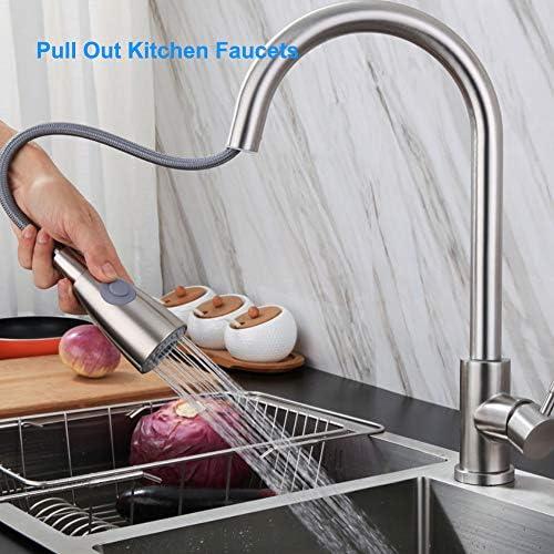 Benkeg キッチン蛇口、キッチン蛇口を引き出すバスルームの洗面台の蛇口2つのスプレーモード360°回転するステンレス鋼の水栓スプレーヤー付き