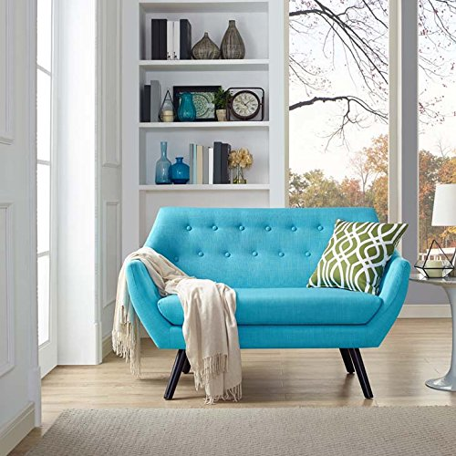 Modway Allegory Mid-Century Modern Upholstered Loveseat in Pure Water