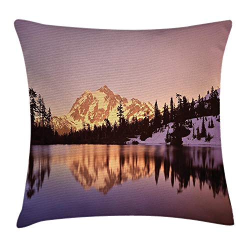 Landscape Throw Pillow Cushion Cover, Snow Capped Mt Shuksan and Lake at Sunset Evening National Forest Washington, Decorative Square Accent Pillow Case, Yellow Purple 20x20