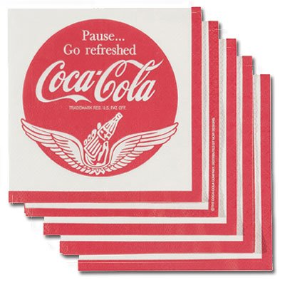 Paper Coca Cola - Pause and Go Refreshed Wings Coca-Cola Paper Napkin Pack of 20