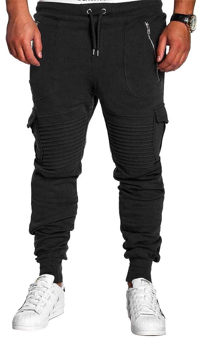 Fubotevic Mens Zip Up Fashion Camo Print Sport Elastic Waist Drawstring Lounge Pants Trousers
