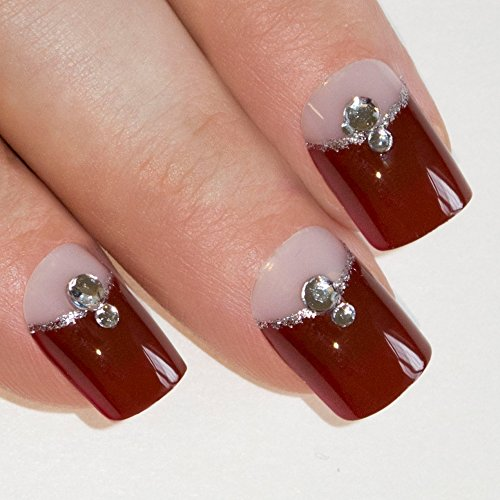 [Bling Art False Nails French Manicure Red Crystal Full Cover Medium Tips UK] (Red Fake Nails)