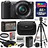 Sony Alpha A5000 20.1 MP Interchangeable Mirrorless Lens Camera with 16-50mm OSS Lens ILCE5000L (Black) with Must Have Accessories Bundle Kit includes 32GB Class 10 SDHC Memory Card + Replacement (1200mAh) NP-FW50 Battery + Home Wall Charger with Car and European Adapter + Professional 60 Inch Photo/Video Tripod + Ultra Violet UV High Definition Filter + Hard Shell Carrying Case + High Speed USB Reader/Writer + HDMI Cable + Camera Lens Cleaning Kit + Bonus for Digital Prints