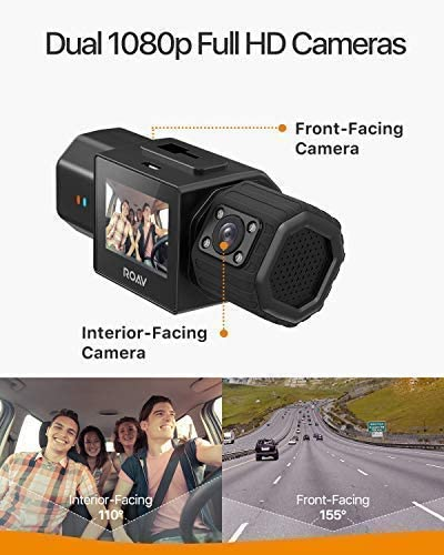 Anker Roav Dual Dash Cam Duo, Dual FHD 1080p Dash Cam for Uber, Front Interior Wide Angle Car Cameras, Dual Sony Sensors, IR Night Vision, GPS, G-Sensor, Loop-Recording Parking Mode No Wi-Fi