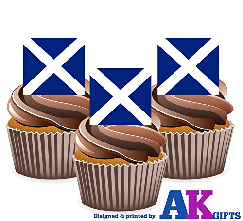 Price comparison product image AKGifts Burns Night - Scotland / St Andrew's / Saltire / Scottish Flag - Edible Stand-Up Cupcake Toppers (7 - 10 BUSINESS DAYS DELIVERY FROM UK)