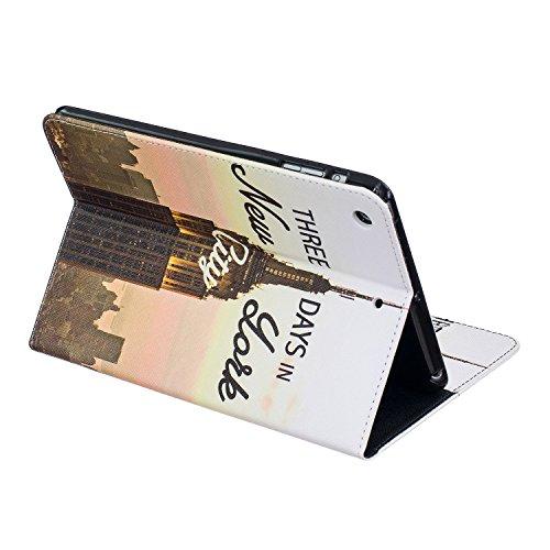 BONROY® Coque pour Apple iPad Mini 1/2/3,Housse en cuir pour Apple iPad Mini 1/2/3,imprimé étui en cuir PU Cuir Flip Magnétique Portefeuille Etui Housse de Protection Coque Étui Case Cover avec Stand