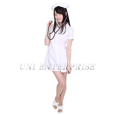 Amazon.com: patymo Enfermera uniformes traje (Color Blanco ...