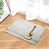 Acoustic Guitar Against Brick Wall in Empty Room Decor Bath Rugs Non-Slip Doormat Floor Entryways Indoor Front Door Mat Kids Bath Mat 15.7x23.6in Bathroom Accessories