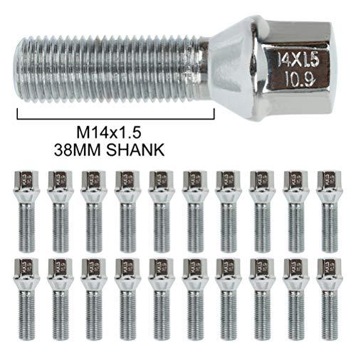 ECCPP 14x1.5 20 Pieces Silver Wheel Lug Shank Length 40 mm fits for Audi TT Quattro Audi A6 Quattro A7 Quattro A8 S4 S5 S6 S7