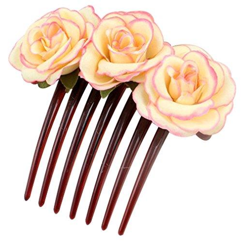 Chic Elegant Lady Girl Handmade Three Rose Flower Hair Comb Hairpin Wedding Party Headdress Pink