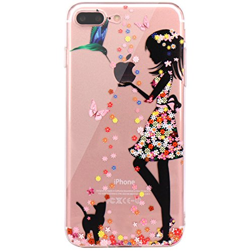 iPhone 7 Plus Case, iPhone 8 Plus Case, JAHOLAN Beautiful Clear TPU Soft Case Rubber Silicone Skin Cover for Apple iPhone 7 Plus/iPhone 8 Plus - Flower Pretty Girl
