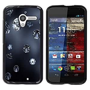 Qstar Arte & diseño plástico duro Fundas Cover Cubre Hard Case Cover para MOTO X / XT1058 / XT1053 / XT1052 / XT1056 / XT1060 / XT1055 ( Diamond Blue Rain Jewel Bling Grey Autumn Nature)