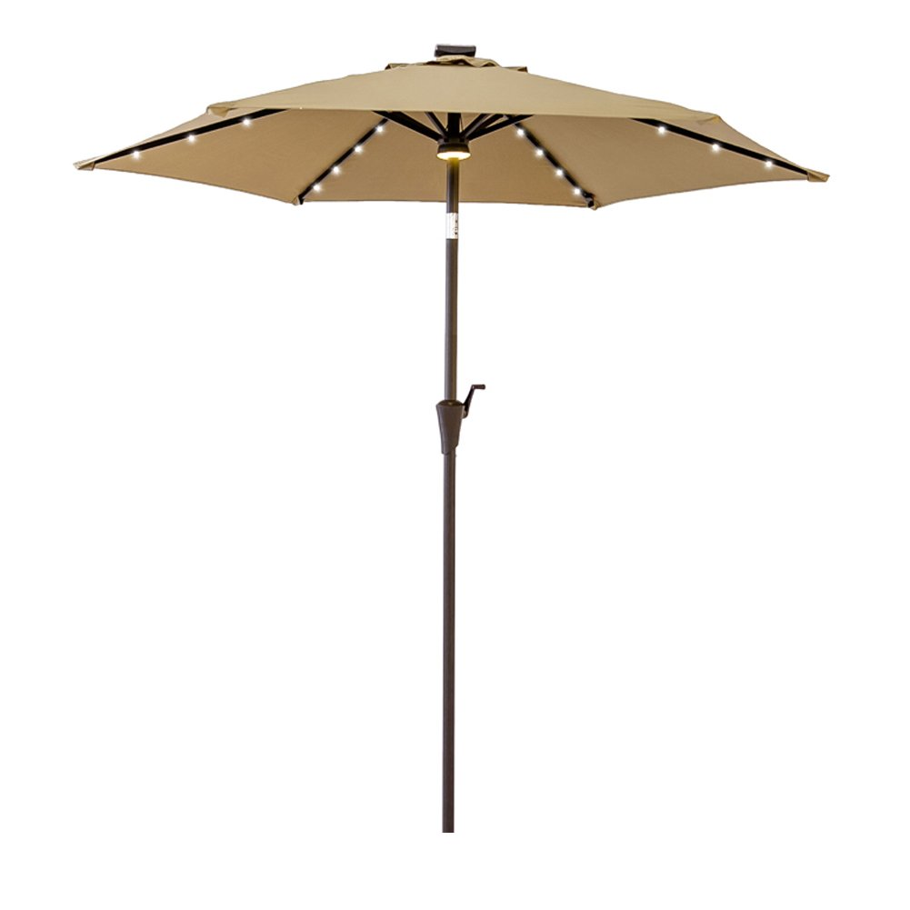 FLAME&SHADE 7.5 ft LED Outdoor Patio Market Umbrella with Crank Lift, Push Button Tilt, Beige
