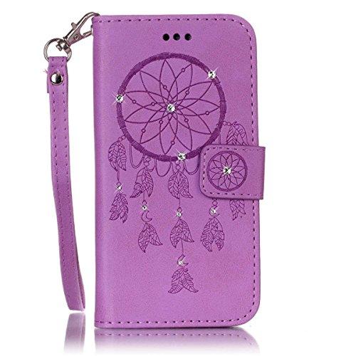 Funda LG Stylo 2, Carcasa Plegable para LG Stylo 2, Funda de piel LG Stylo 2,Lifetrut Sólido Shiny Sparkle libro de estilo funda de cuero con ranura para tarjetas de cierre magnético soporte funda de  E211-Atrapasueños En púrpura
