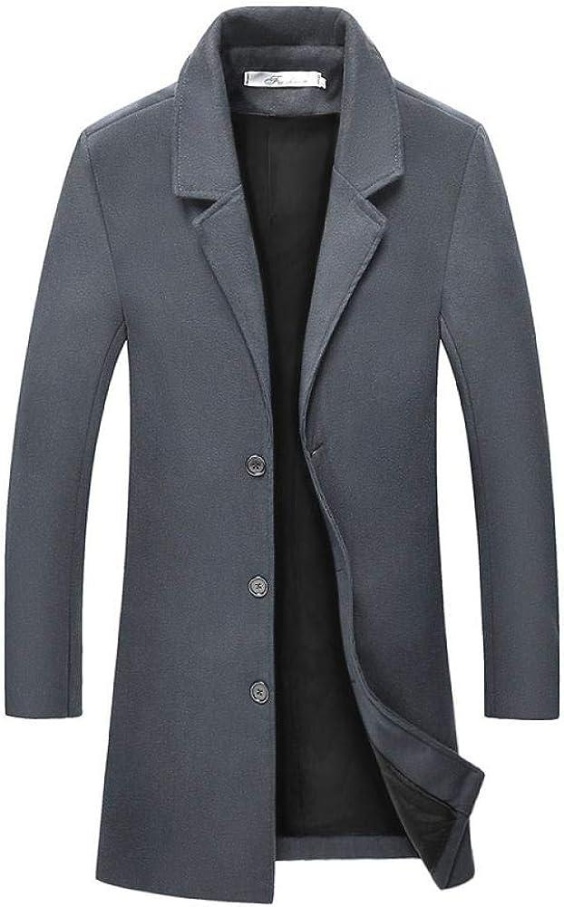 2020 Automne Et Hiver Hommes S Porter De Style Coréen Coupe Ajustée Couleur Unie Manteau De Laine Mi-Longueur Hommes S Manteau Trench-Coat Dark Gray