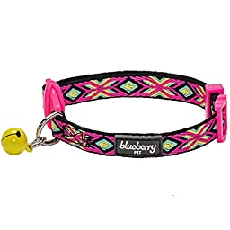 Blueberry Pet Pack of 1 Cat Collar, Classic Folk Style Geometrical Pattern Adjustable Breakaway Cat Collar with Bell, Neck 9\